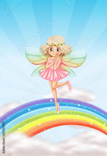 A cute fairy on rainbow