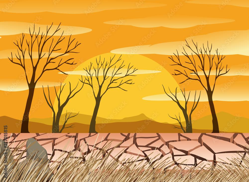 Fototapeta A drought desert scence