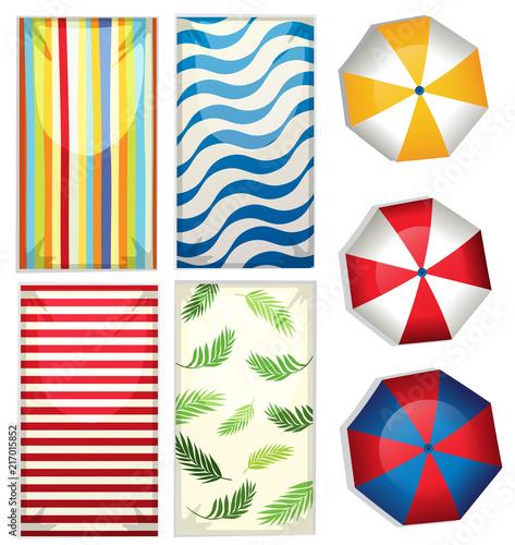 Fotobehang Kids Set of beach umbrellas and towels