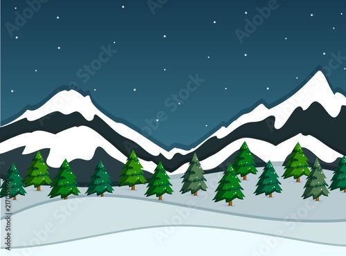 Fotobehang Kids A snowy mountain landscape