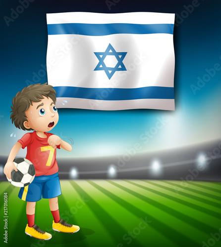 Staande foto Kids Israel football player template