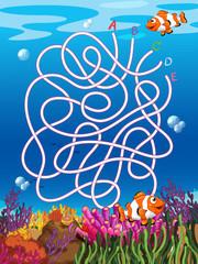 Fototapeta na wymiar Underwater maze with clown fish