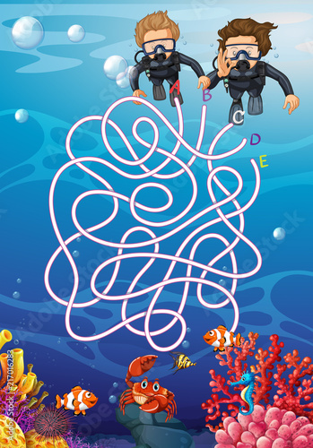 Fotobehang Kids Underwater with scuba diver maze concept