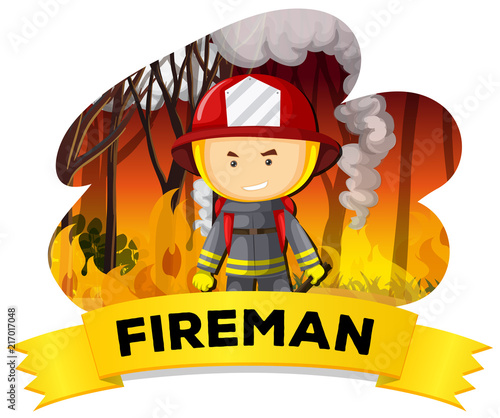 Fotobehang Kids Fireman with fire in the background