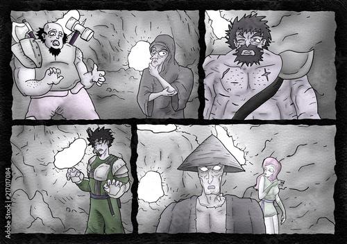 Láminas  comic scene illustration
