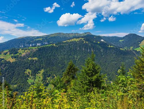 Foto op Canvas Bergen View from Mt. Harderkulm in Switzerland in summer