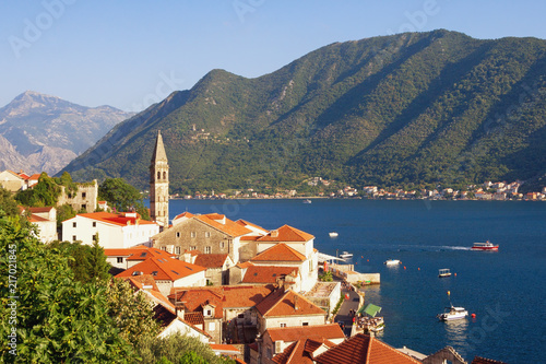 Summer Mediterranean landscape. Montenegro, view of ancient town of Perast with bell tower of St. Nicholas Church