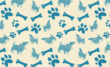 Dog Bones Paw Prints And Polka Dot Puppy Design In Blue On Beige Background, Cute Fun Animal Print Wallpaper