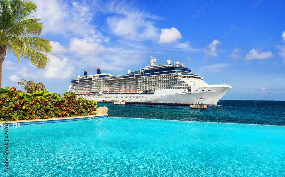Fototapety, obrazy: View from pool at tropical resort on cruise ship docked at port