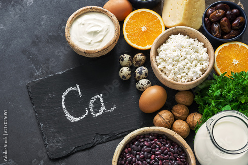 Printed kitchen splashbacks Spices Healthy foods rich in calcium. The concept of healthy eating. View from above.