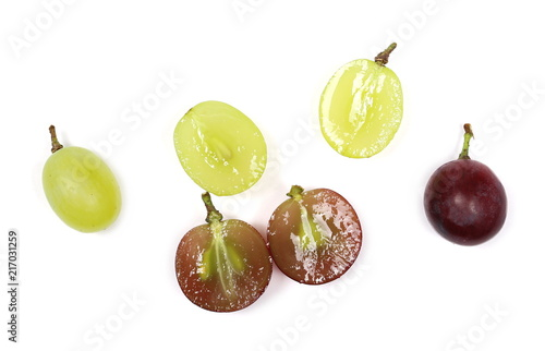 Half grapes cardinal isolated on white background, top view, with clipping path