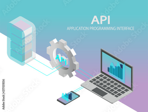 Obraz API application programming interface concept vector. Isometric IT illustration. - fototapety do salonu