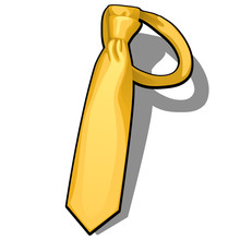 Golden Necktie Isolated On Whi...