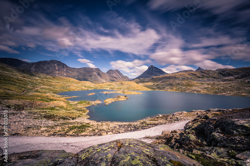 Poster Lavendel Wild mountain landscape in the Jotunheimen National Park, Norway