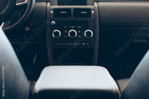 Photo Car armrest in leather upholstery
