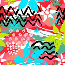 Ethnic Exotic Batik Tropical Seamless Pattern. Abstract Coroful Summer Time Decoration