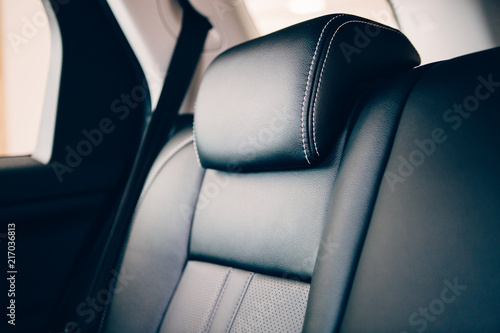 Car headrest leather upholstery detail