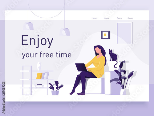 Obraz A girl sitting on the sofa works on the laptop. Vector flat illustration. Landing page template, cartoon style - fototapety do salonu