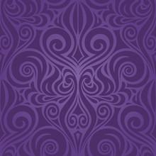 Violet Purple Flowers, Ornate Vintage Seamless Pattern Floral Background Trendy Fashion Design