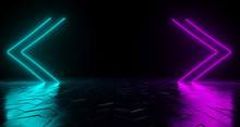 Futuristic Sci-Fi Arrow Shaped Neon Tube Vibrant Purple And Blue Glowing Lights On Reflective Tilted Rough Concrete Surface In Dark Room Empty Space 3D Rendering
