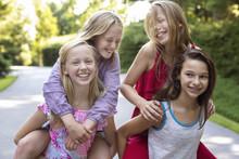 Tween Girls Friends Having Fun