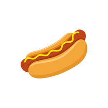 Hot Dog With Mustard Colorful Vector Cartoon. Fast Food Hot Dog Vector Clipart Icon.