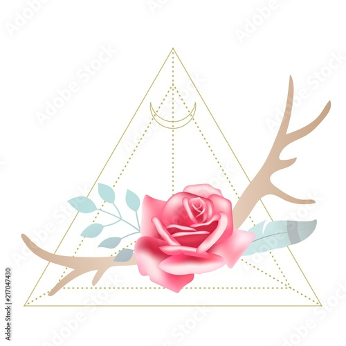 Foto auf Leinwand Aquarell Schädel Boho styled beautiful pink rose with deer antlers, feather and leaves. Sacred geometry Moon triangle on background. Design element, vector illustration