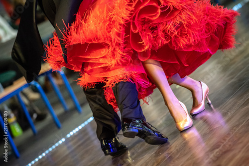 closeup of ballroom dancers legs Fotobehang