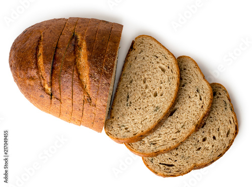 Carta da parati A loaf of gray sliced bread on a white, isolated
