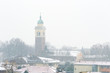 Winter unusual aerial landscape of Rovigo in Veneto in the Po valley, Italy. During a snowfall the city roofs got white even the historic landmark as the Rotonda church and its bell tower
