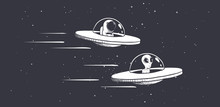Competition Astronaut And Aliens On Flying Saucers In Outer Space.Vector Illustration