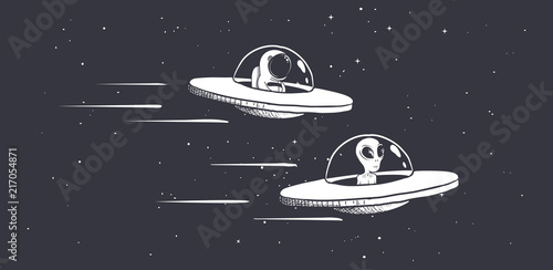 competition astronaut and aliens on flying saucers in outer space Wallpaper Mural