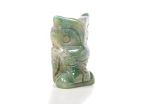 Macro Mineral Stone Owl From Moss Agate