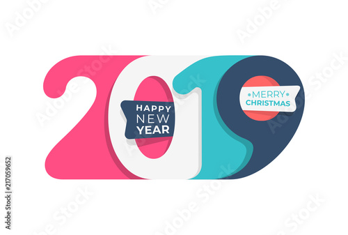 Happy new year 2019 colored in pastel colors number text design typography pattern design for - New years colors 2019 ...