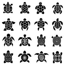 Turtle Logo Top View Icons Set...