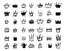 Set Of Crown Logo Graffiti Ico...