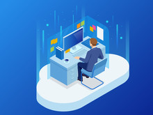 Isometric Man Working With A Cloud Technology, A New Technology Concept. Workplace, Laboratory, Office Room. Vector Illustration