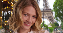 Smiling Portrait Of Pretty Caucasian Girl In Paris