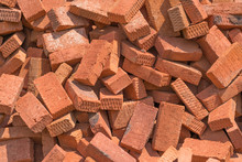 A Pile Of Bricks Made Of Burne...