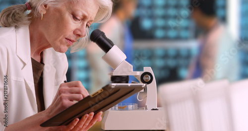 Fotografiet Senior woman medical researcher taking notes on tablet computer in busy lab
