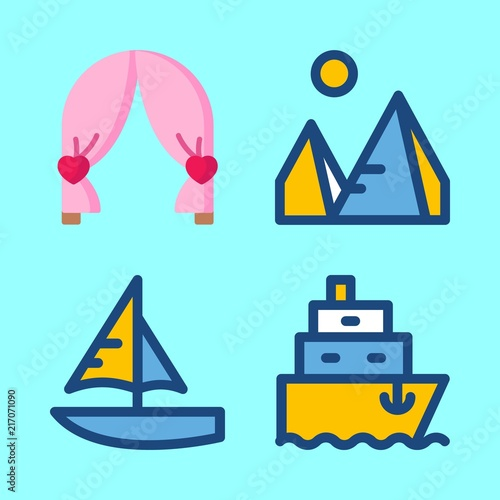 summer vector icons set. pyramids, wedding arch, ship and sailboat in this set