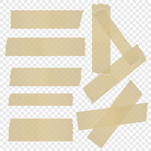 A Selection Of Adhesive Tape On An Isolated Transparent Background. Vector Illustration.