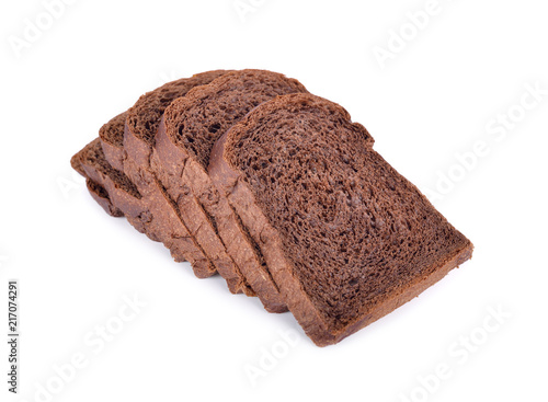 Deurstickers Brood fresh sliced dark cocoa bread on white background