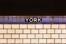 Brooklyn, NY / USA - JUL 31 2018: York Street Subway Sign