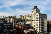 Brooklyn, NY / USA - JUL 31 2018: Historical Clock Tower Buildings In Dumbo