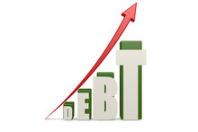 Debt Word With Up Red Arrow