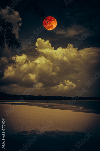 Staande foto Zwart Landscape of sky with bloodmoon on seascape to night. Serenity nature background.