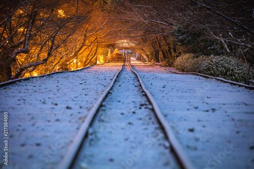 In de dag Spoorlijn 京都府 蹴上インクライン 雪景色