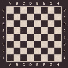 Grunge Chess Board With Letters And Numbers. Vector Chess Board For Chess And Checkers.