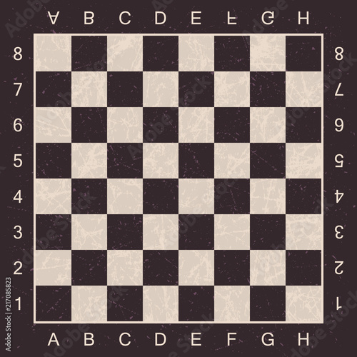 Canvas Print Grunge chess Board with letters and numbers